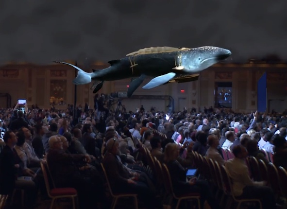 Here the leviathan is flying over the audience!