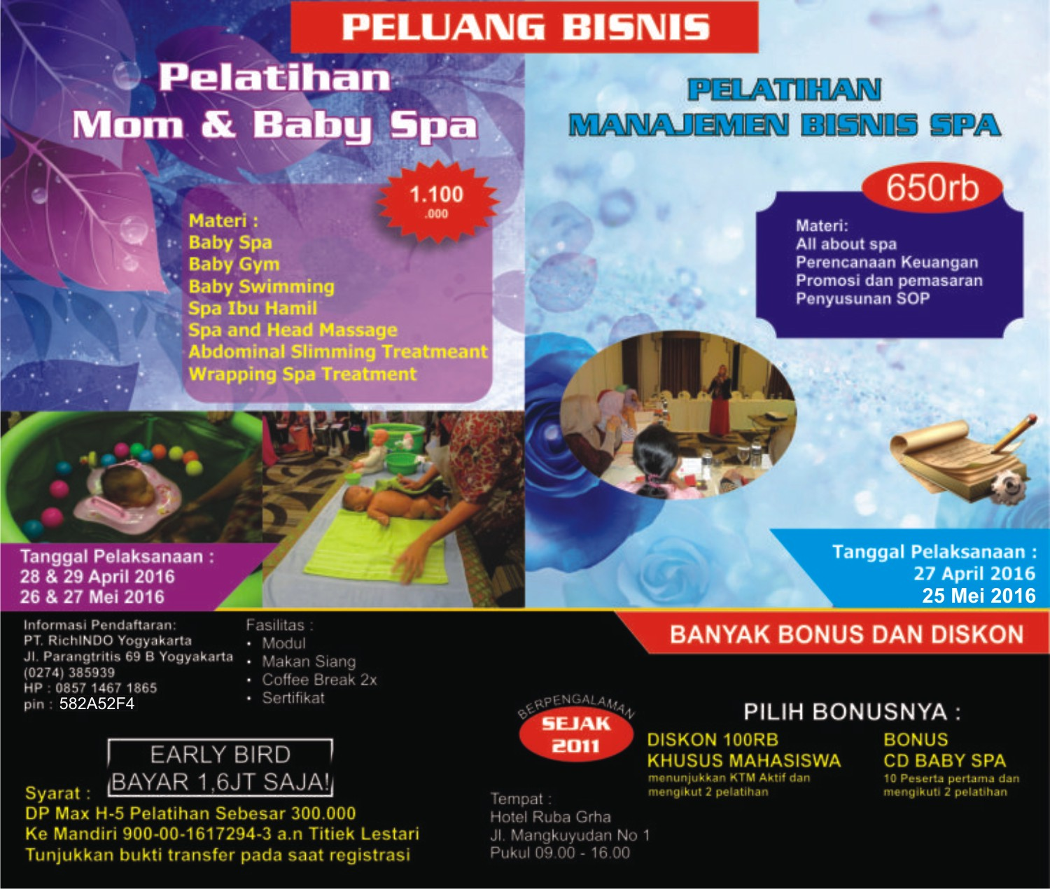 Pelatihan Mom and Baby Spa April dan Mei 2016
