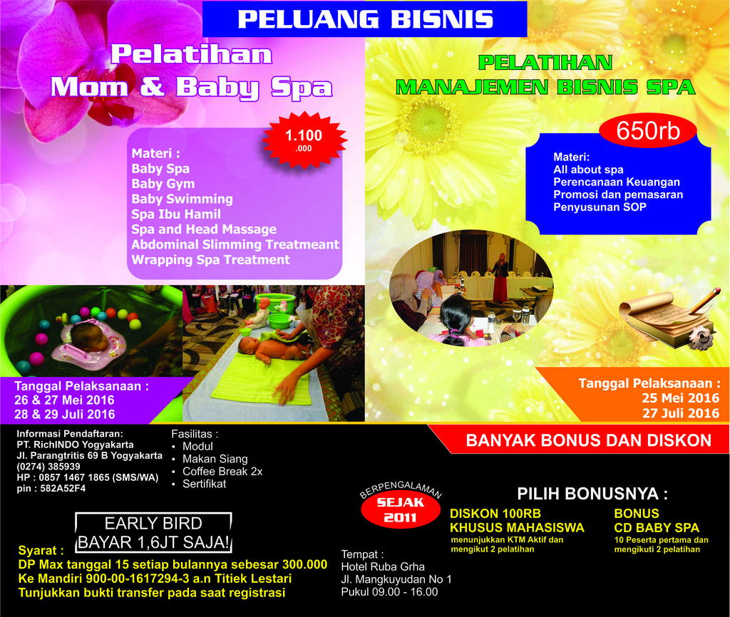 Pelatihan Mom and Baby Spa Bulan Mei & Juli 2016