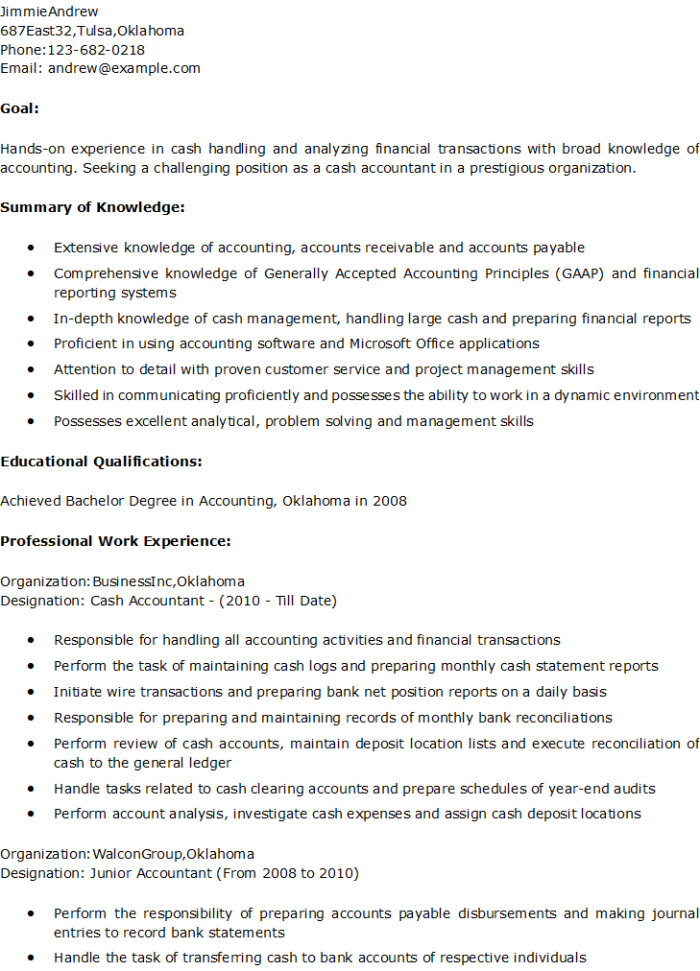 Sample Resume Free Resume Examples Cash Accountant Resume – John4279