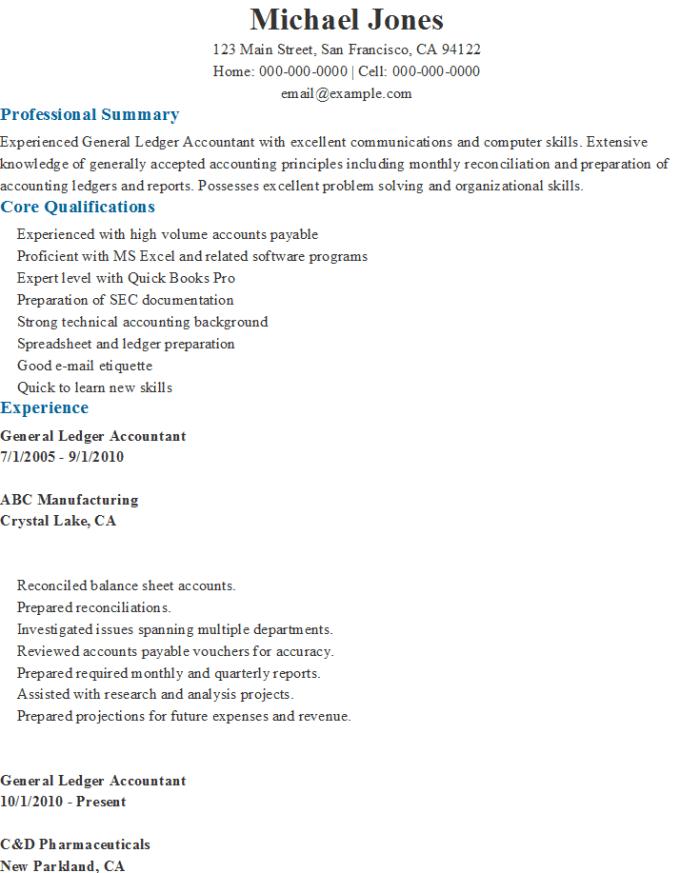 general ledger accountant resume
