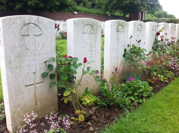 Graves of men from the 9th RIF in Ancre cemetery, the ravine where they died.