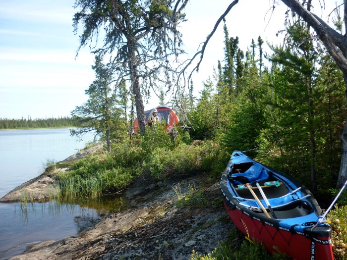 Our camp site on Swan Lake was pretty cramped - the large old jack pine in front of the tent had a large and very old blaze on it and is probably the campsite noted by earlier travellers
