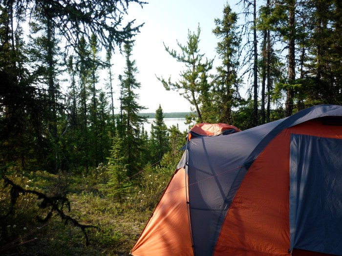 Camp in jackpine parkland at the western end of the portage into un-named lake #2