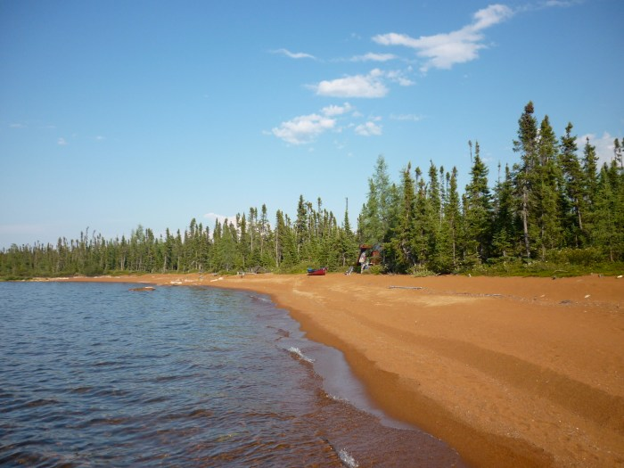 Camp on beach 4 km south of Wollaston Lake Community