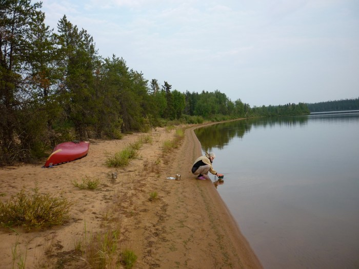 Compared to the night before this campsite was definitely a 'Hilton' - beautiful sandy beach backed by open jackpine parkland
