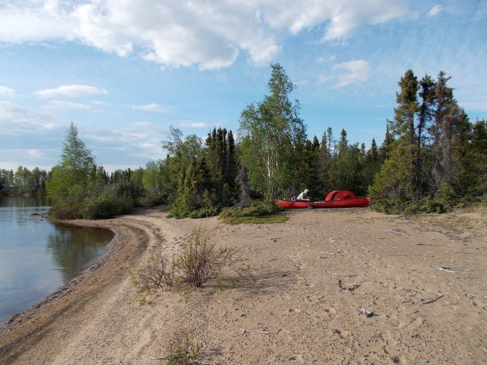 Our camp on the esker, Selwyn Lake