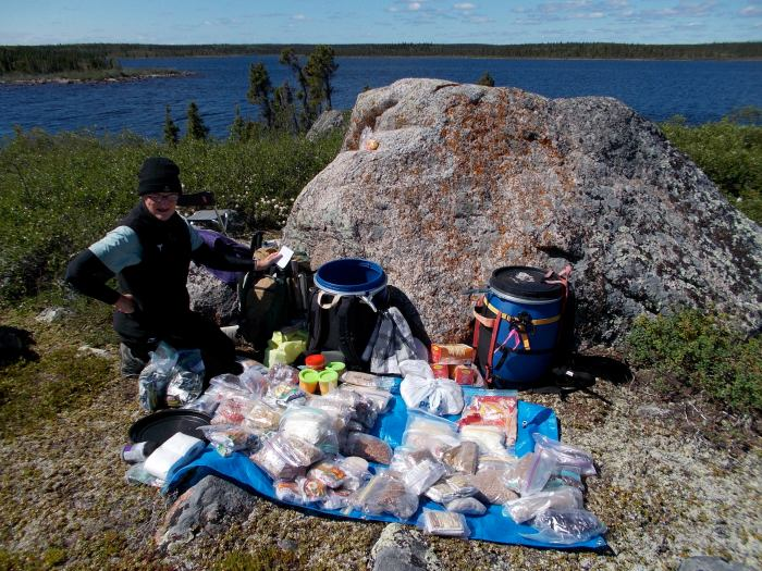 The contents of all three food drums, two and a half weeks into our trip, what's left will have to get us to Baker Lake, still over a month away