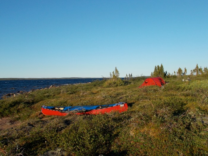 Camp on the Dubawnt River close to the exit rapids from Carey Lake