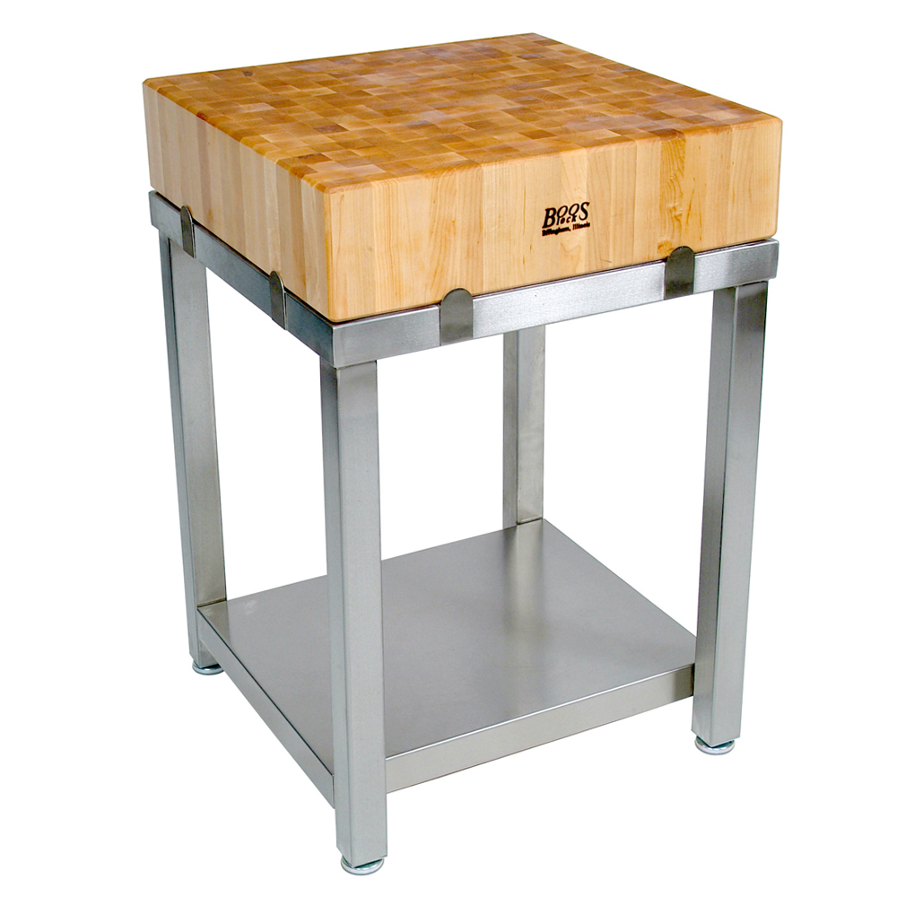 Gourmet Butcher Blocks Cucina Laforza Maple End Grain Butcher Block With Stainless Steel Base Solid Shelf Available With Cherry Or Walnut Top Base Top Sold Separately