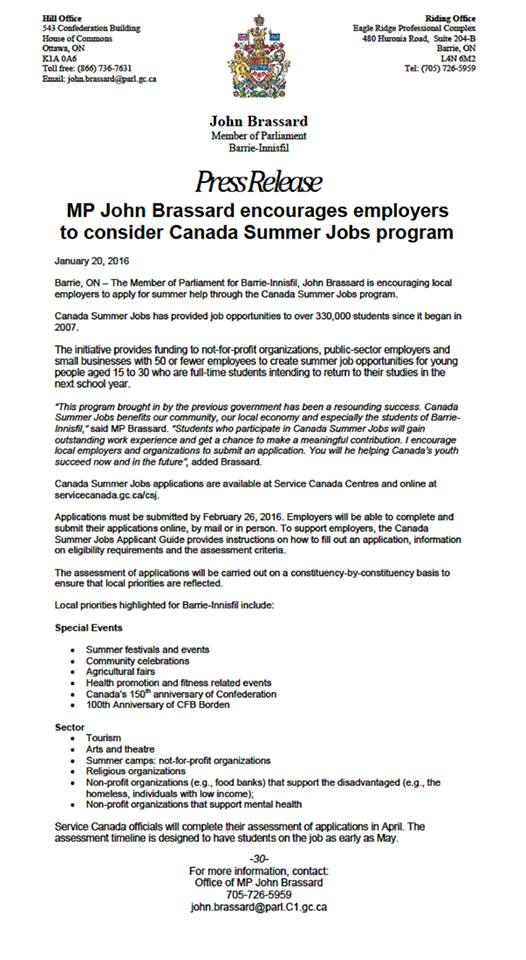 MP John Brassard encourages employers to consider Canada Summer Jobs