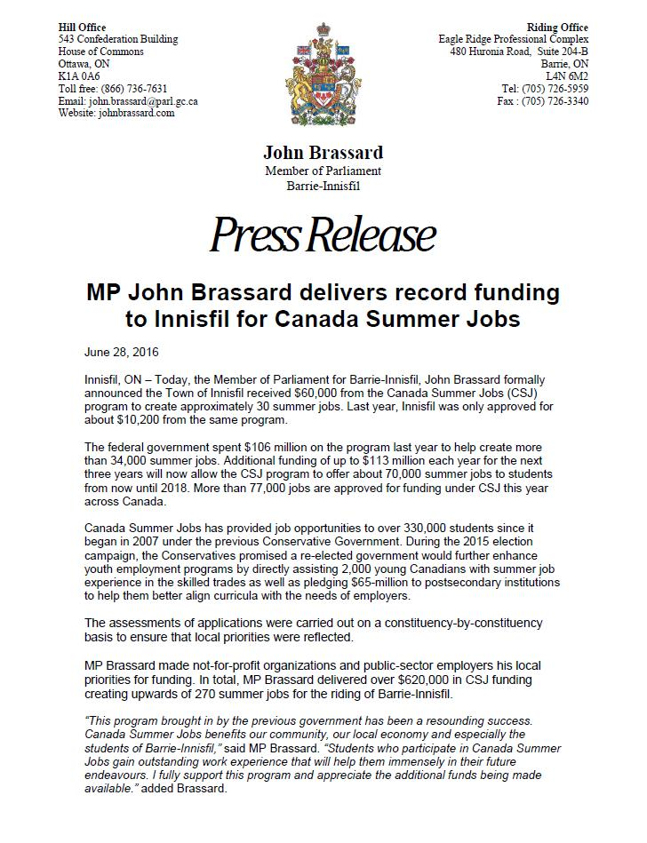 MP John Brassard delivers record funding to Innisfil for Canada