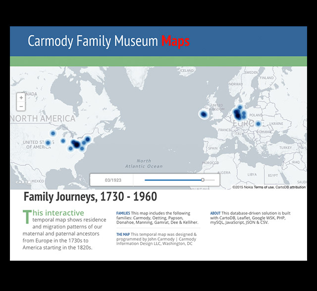 Interactive Temporal Map, Family Journeys, 1730 - 1960 - John Carmody - animated maps