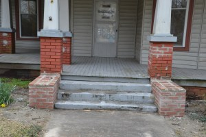 Masons rebuilt our front entry brick pillars.