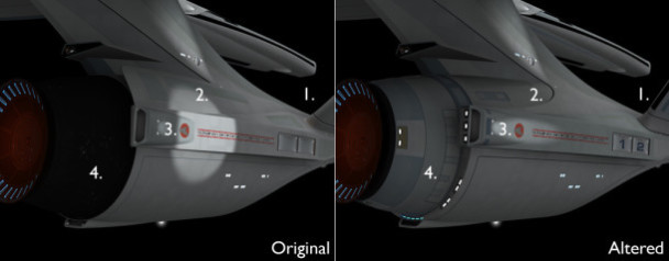 Comparison between my 3D meshes of an alternate USS Enterprise