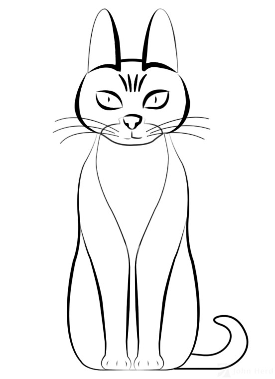 Cartoon Cat drawn in Adobe Photoshop