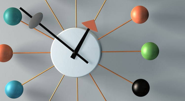 3D clock built and rendered in Cinema 4D.