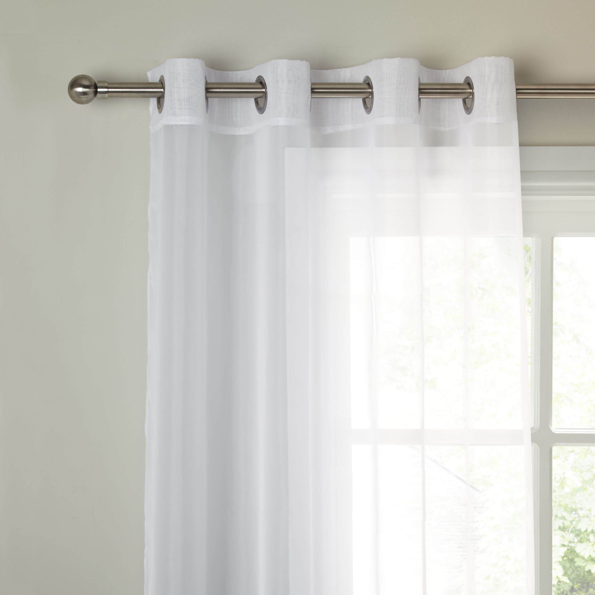 Ready Made Sheer Curtains Online John Lewis The Basics Voile Eyelet Panel White At John Lewis