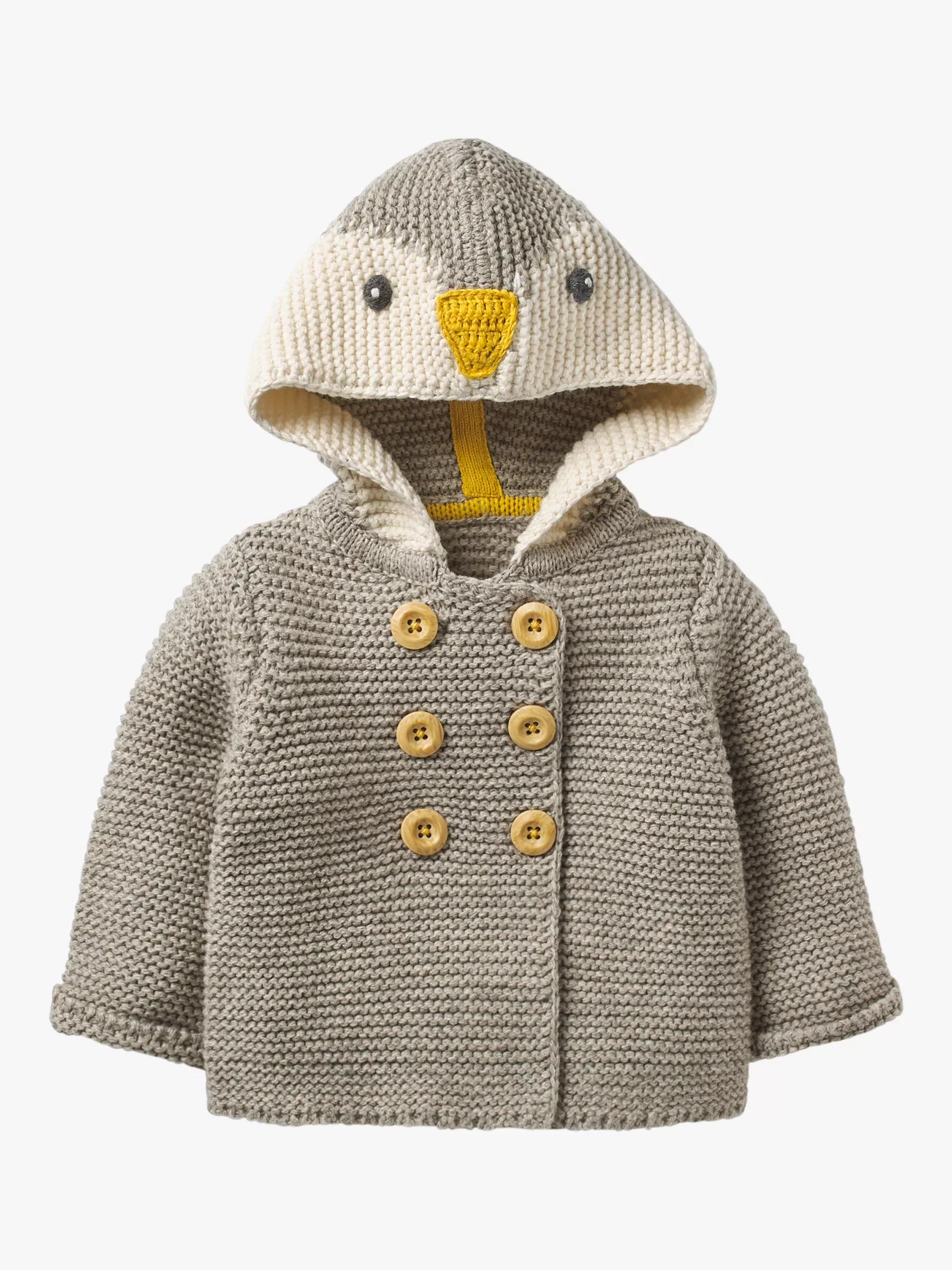 Boden 24 Mini Boden Baby Penguin Knitted Jacket Grey Marl At John Lewis