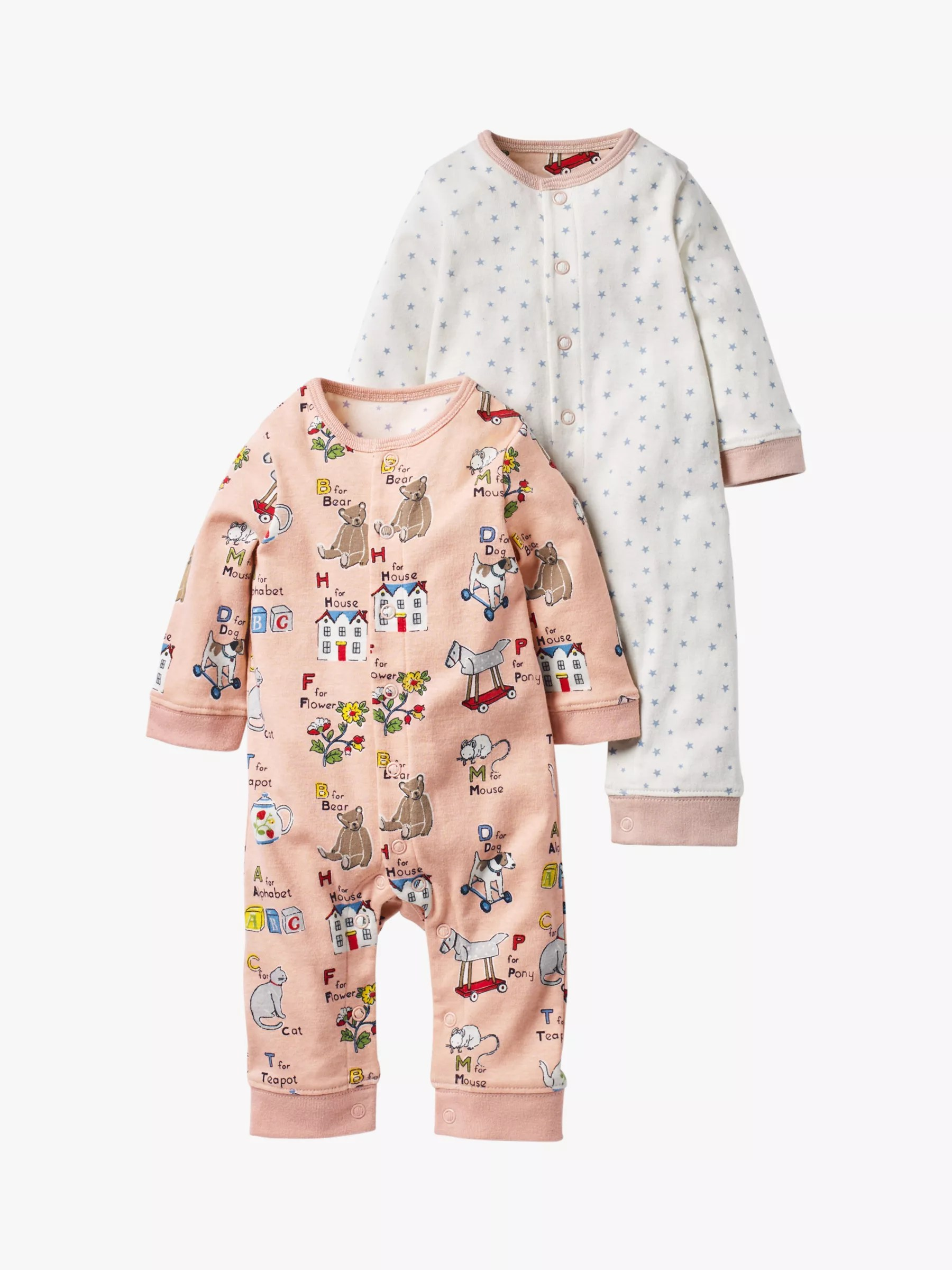 Boden 24 Mini Boden Baby Twin Abc Romper Pack Of 2 Multi At John Lewis