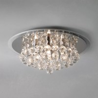 John Lewis Belinda Flush Ceiling Light, Chrome / Crystal