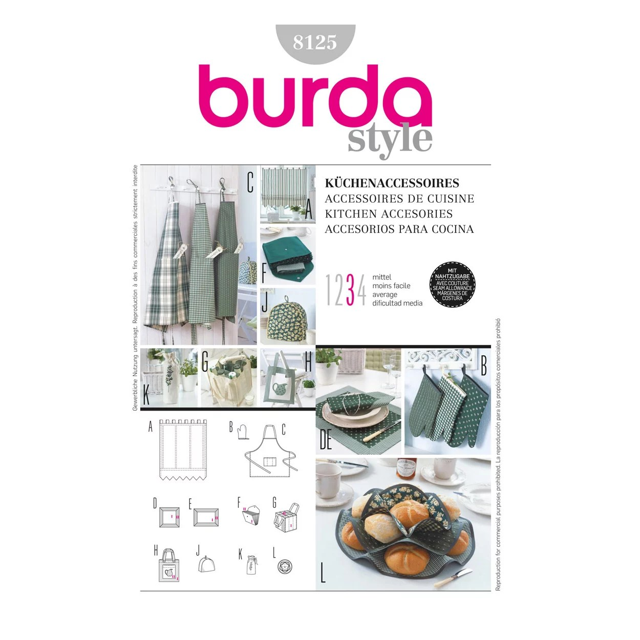 Küchenaccessoires Online Shop Burda Kitchen Accessories Sewing Pattern, 8125 At John Lewis & Partners