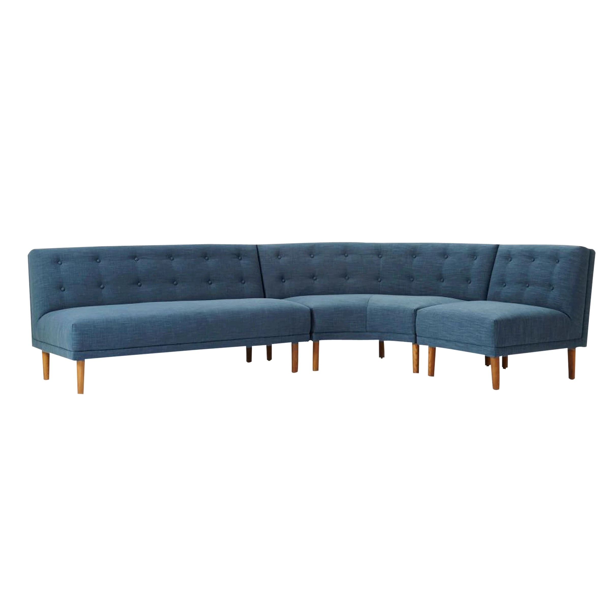 West Elm Rounded Retro Sectional Sofa Regal Blue Pecan Linen Weave At John Lewis Partners
