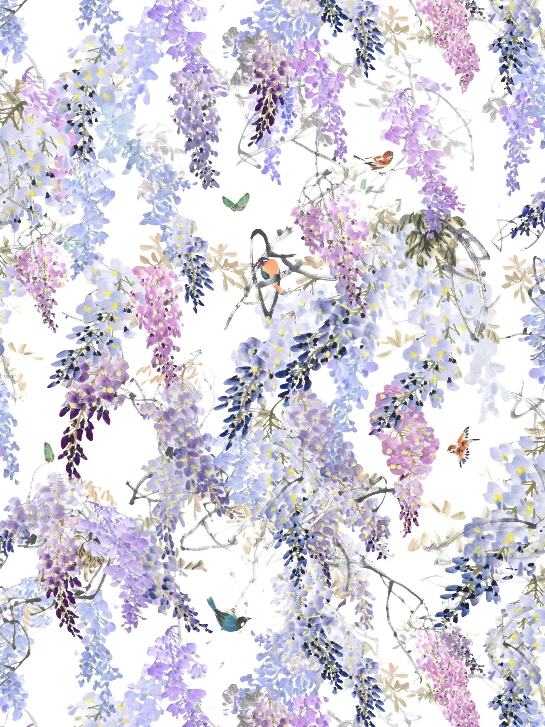 Wisteria Falls Wallpaper Buy Sanderson Waterperry Wisteria Falls Wallpaper Lilac
