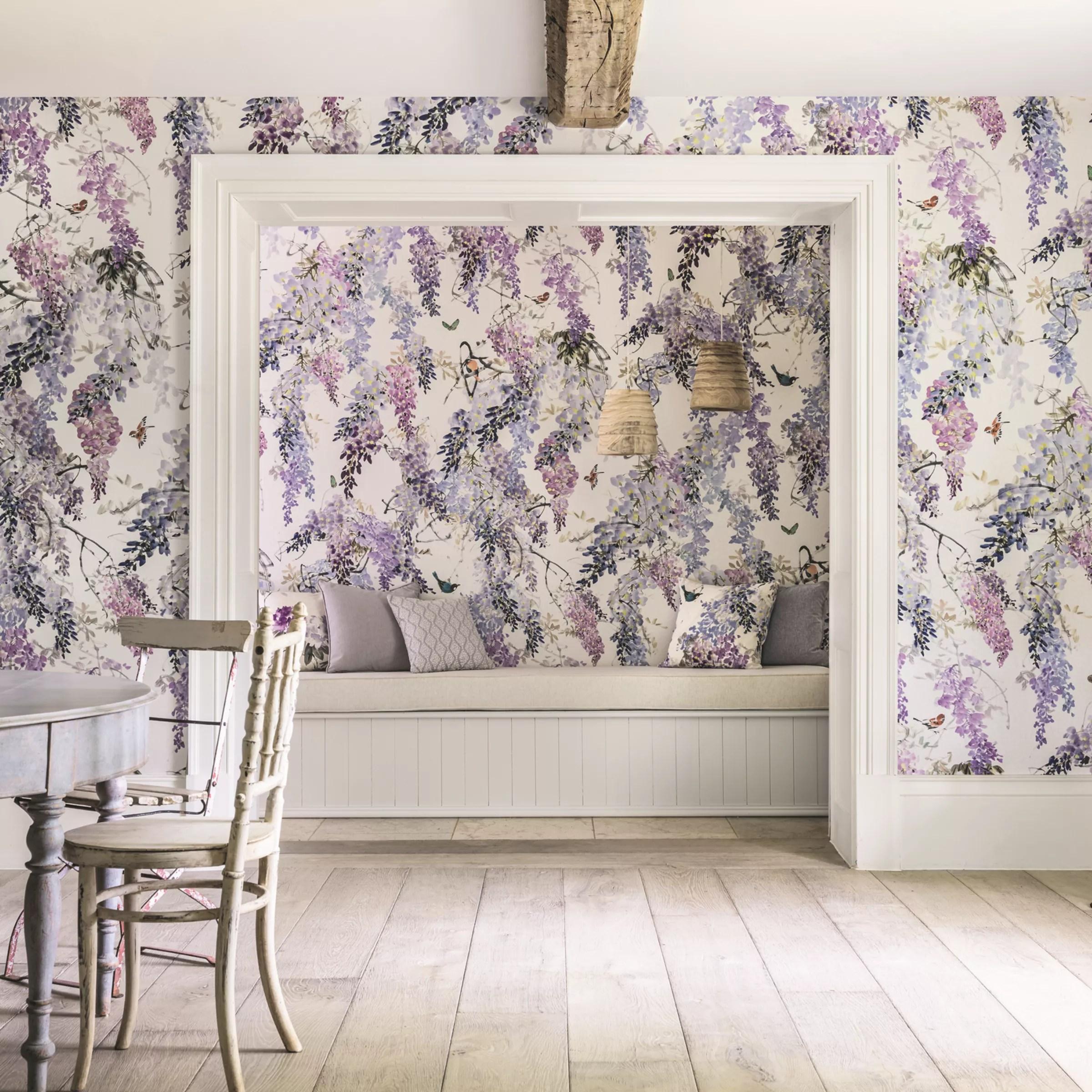 Sanderson Wisteria Falls Wallpaper Buy Sanderson Waterperry Wisteria Falls Wallpaper Lilac