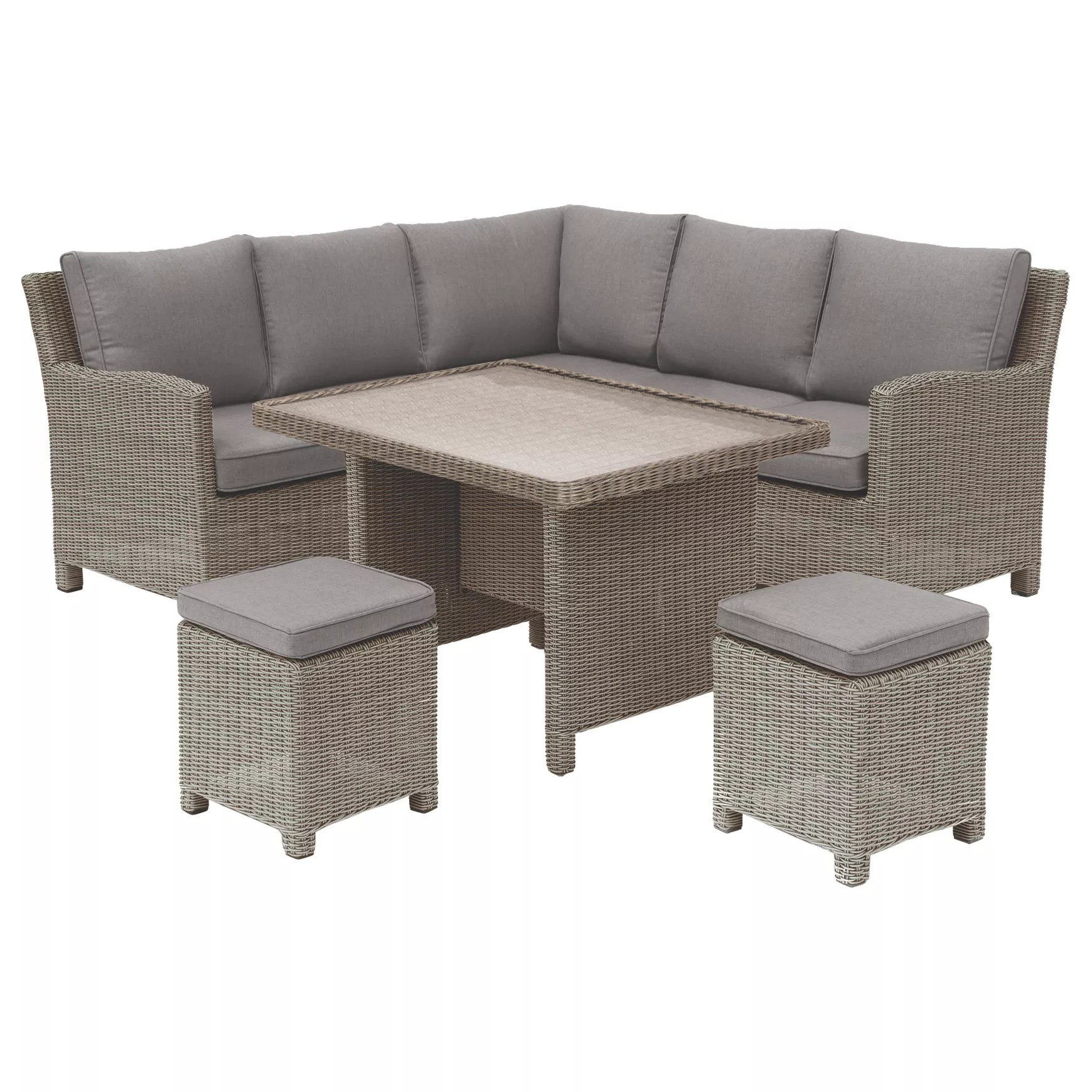 Kettler Lounge Kettler Palma Garden Mini Lounge Dining Set With Glass Top Table Rattan