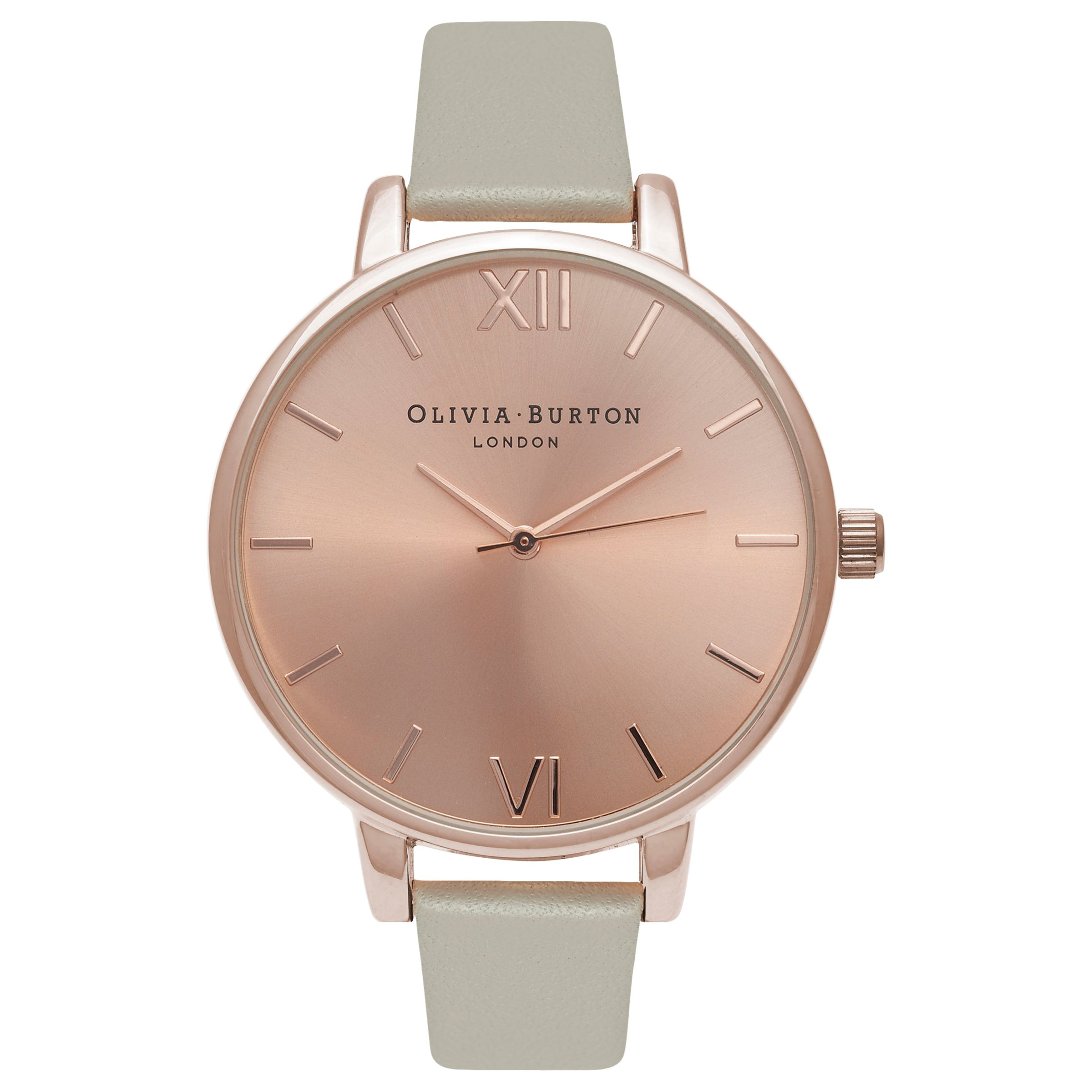 Leather Strap Rose Gold Watch Olivia Burton Ob16bd98 Women S Big Dial Leather Strap Watch Grey Rose Gold
