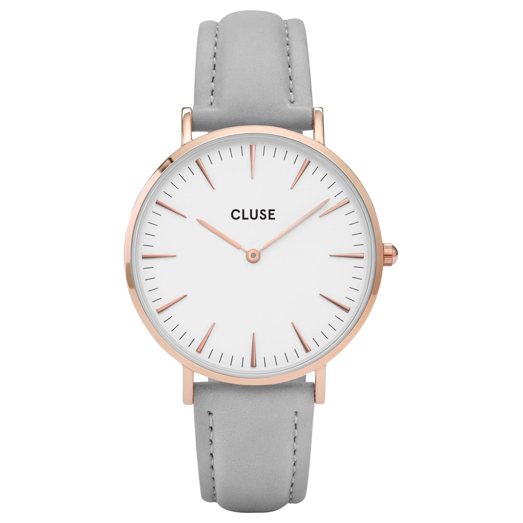 Leather Strap Rose Gold Watch Cluse Cl18015 Women S La Boheme Rose Gold Leather Strap Watch Light Grey White