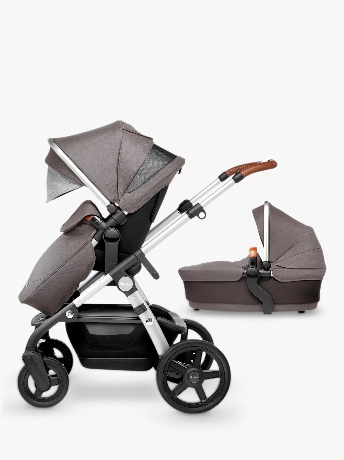 Pram Extra Seat Silver Cross Wave Pushchair And Carrycot Sable