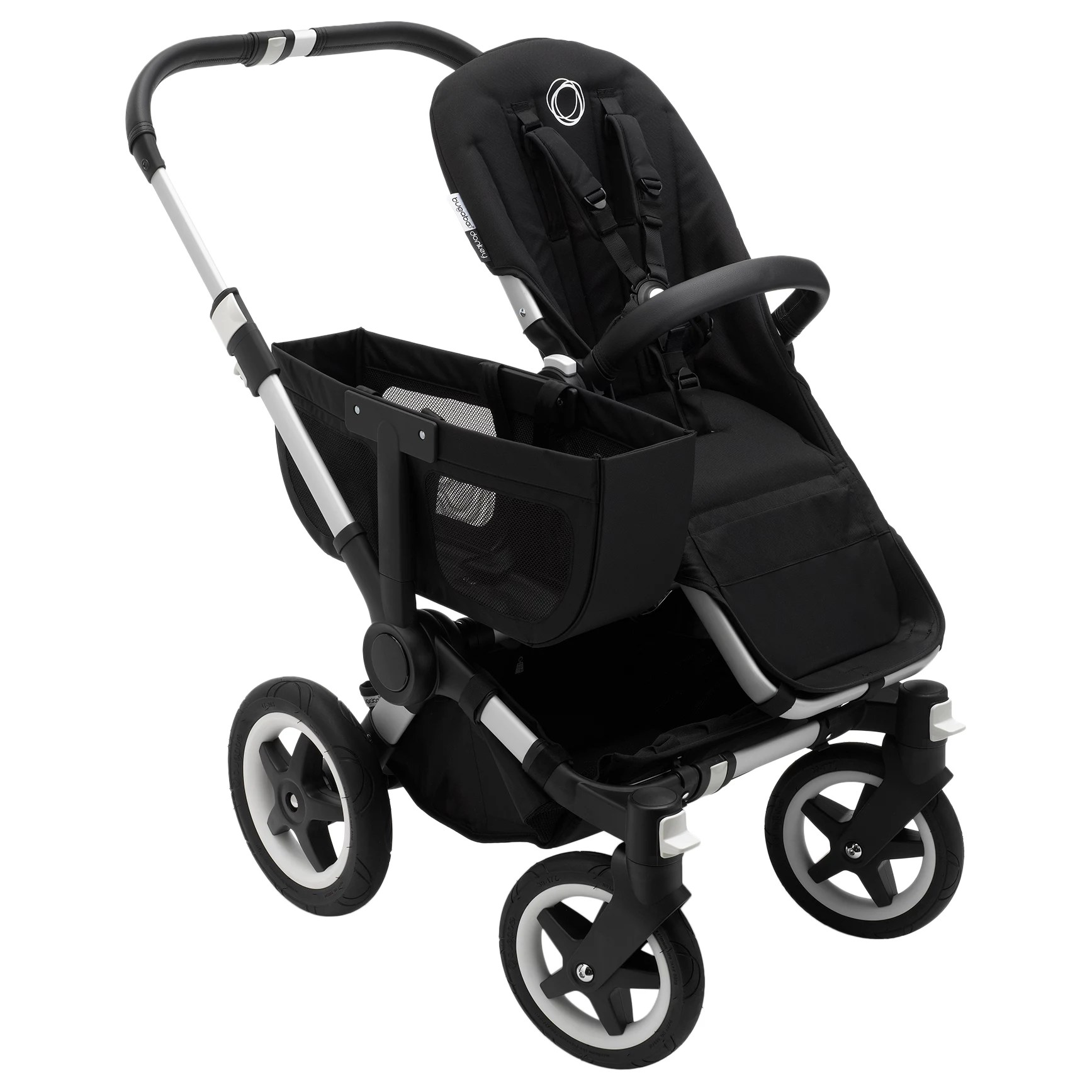 Double Pushchair Bugaboo Bugaboo Donkey2 Mono Complete Pushchair Aluminium With Black Fabric