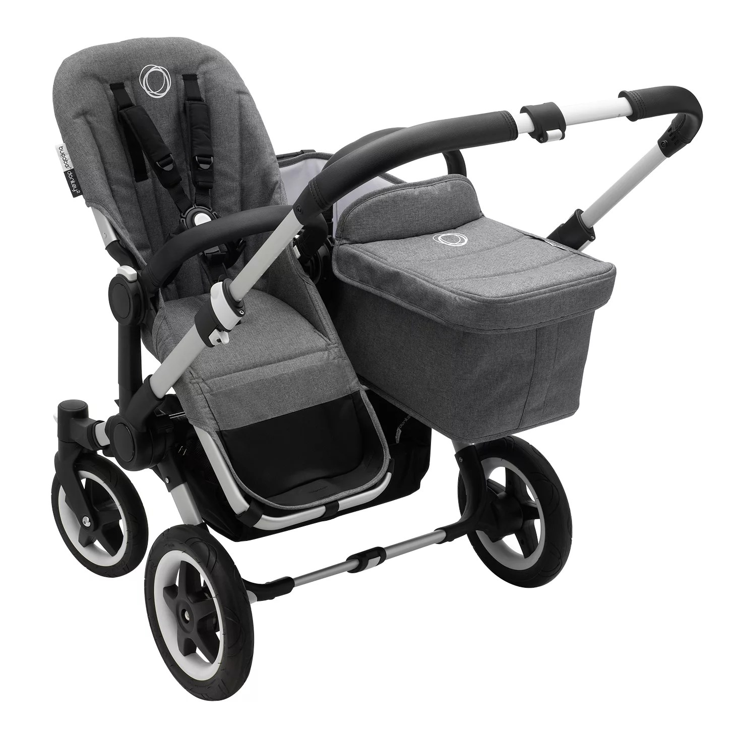 Bugaboo Donkey Duo Classic Bugaboo Donkey2 Duo Complete Pushchair Carrycot Duo Extension Pack Aluminium With Grey Melange Fabric
