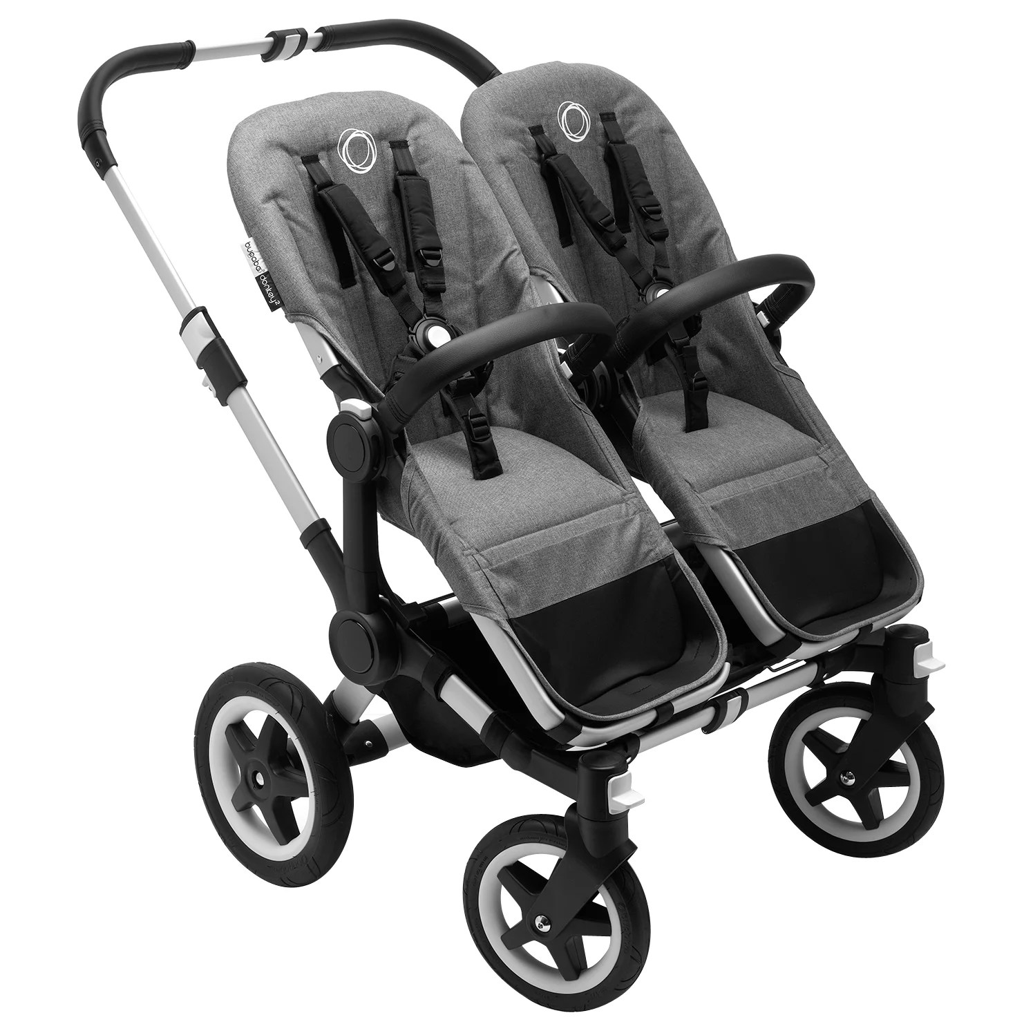 Double Pushchair Bugaboo Bugaboo Donkey2 Twin Complete Pushchair Carrycot Twin Extension Pack Aluminium With Grey Melange Fabric