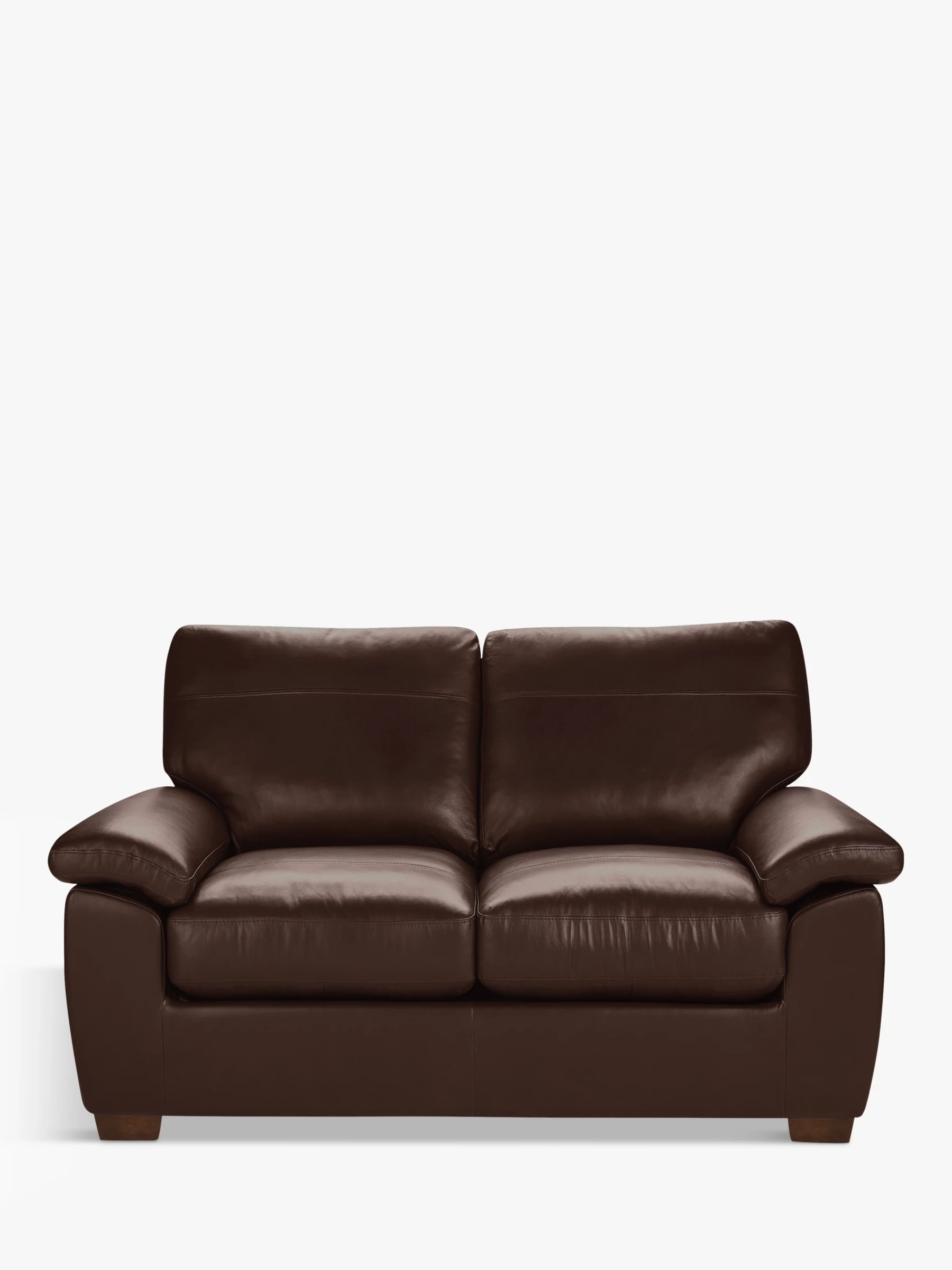 John Lewis Partners Camden Small 2 Seater Leather Sofa Dark Leg Nature Brown At John Lewis Partners
