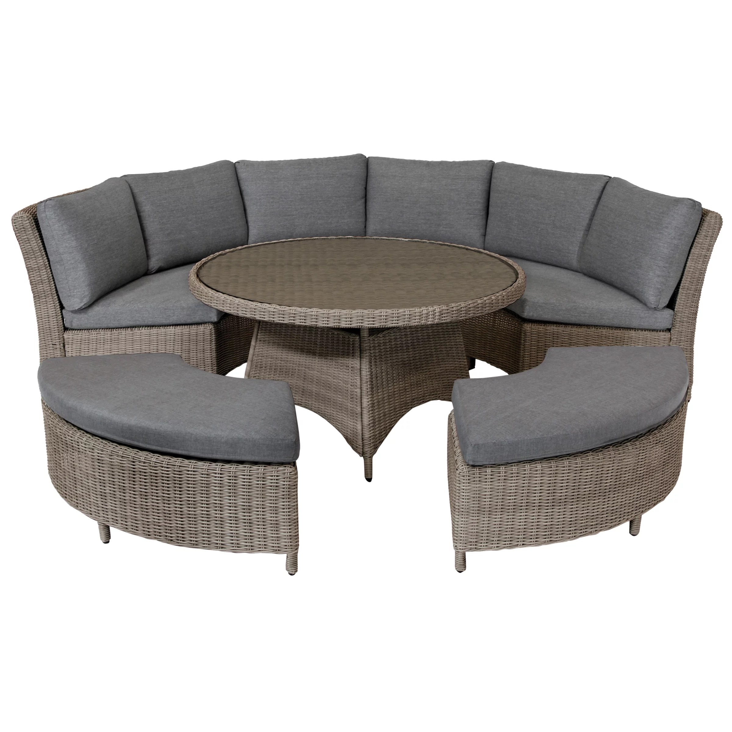 Rattan Sofa Occasion Kettler Palma 8 Seater Round Garden Dining Table And