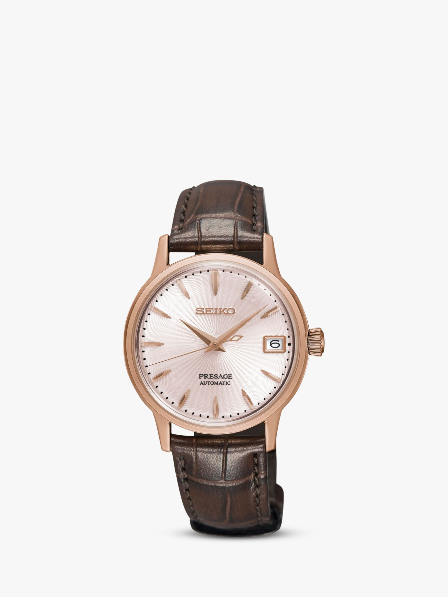 Leather Strap Rose Gold Watch Seiko Srp852j1 Women S Presage Automatic Date Leather Strap Watch Brown Rose Gold