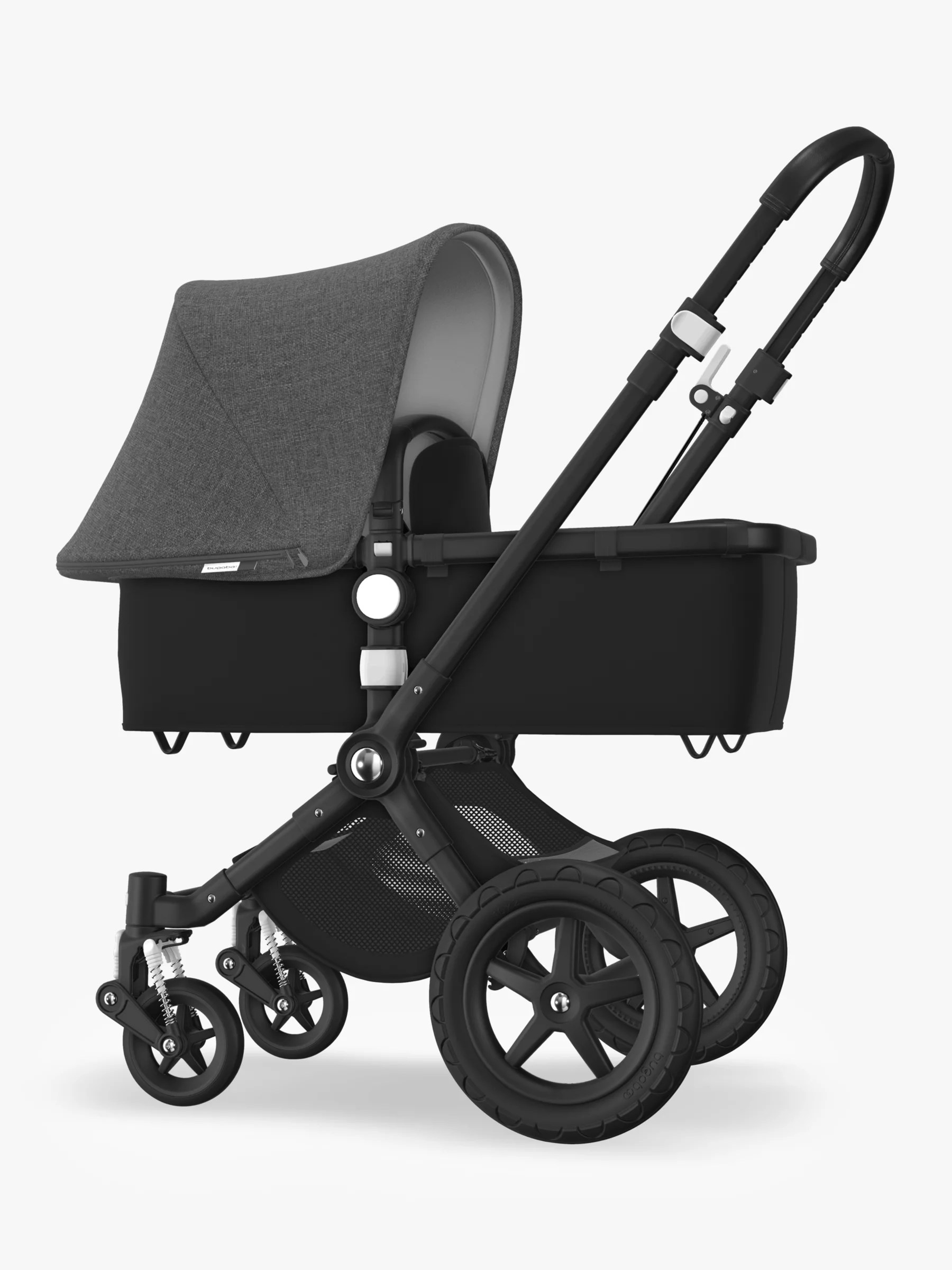 Bugaboo Stroller How To Fold Bugaboo Cameleon3 Plus Complete Pushchair And Carrycot Black Black With Grey Melange Sun Canopy