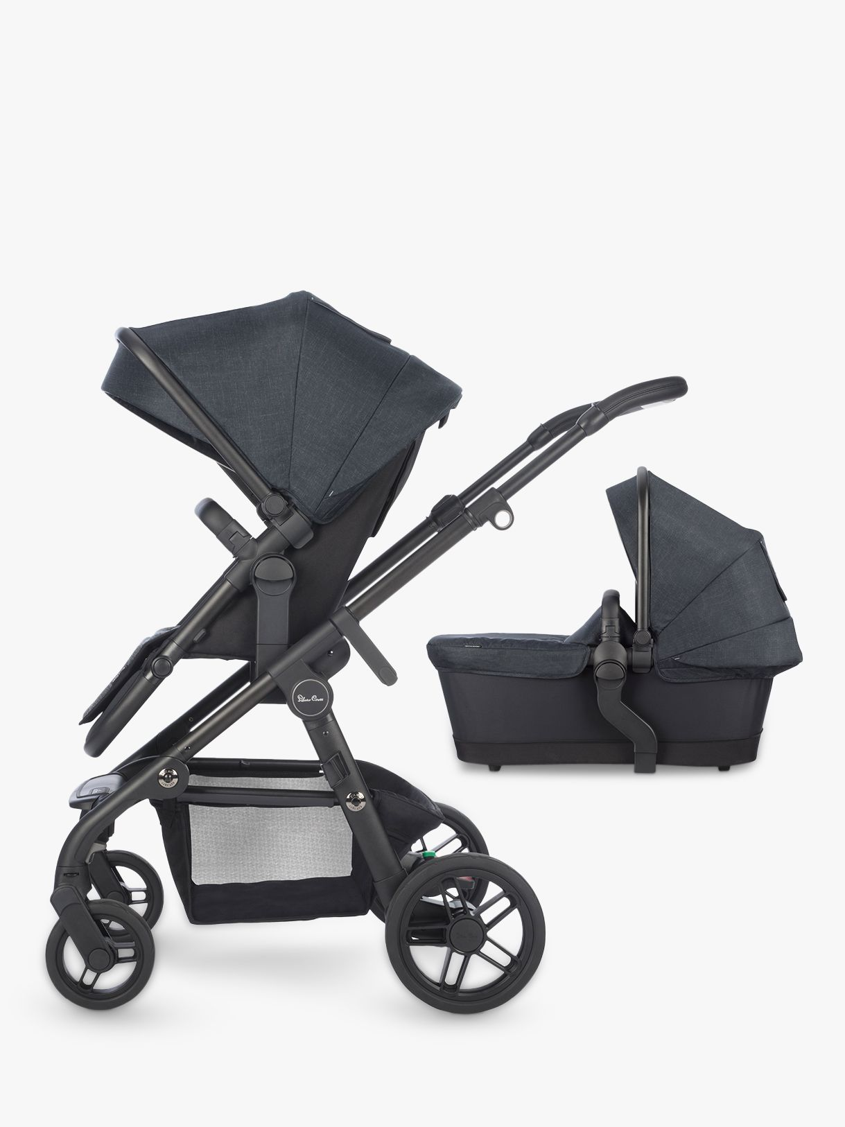 Baby Pram John Lewis Silver Cross Coast Pushchair And Carrycot Flint At John