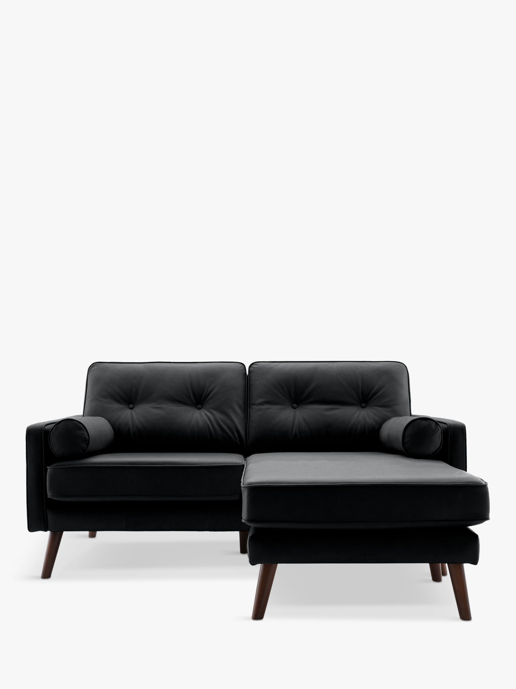 G Plan Vintage The Sixty Five Medium 2 Seater Chaise End Leather Sofa Capri Black At John Lewis Partners