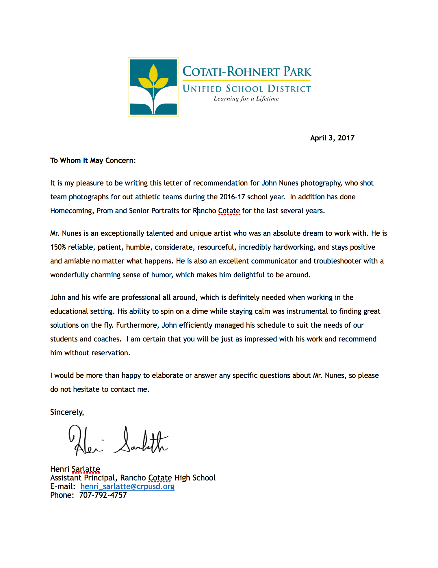 letter of recommendation for athlete example