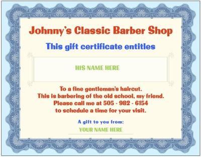 Barber Shop Gift Certificates