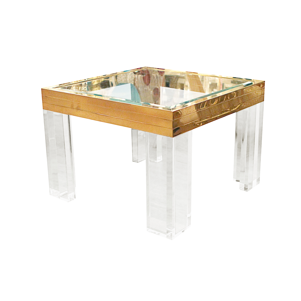 Square Glass End Tables Pair Of Square Brass Lucite And Glass Side Tables Side
