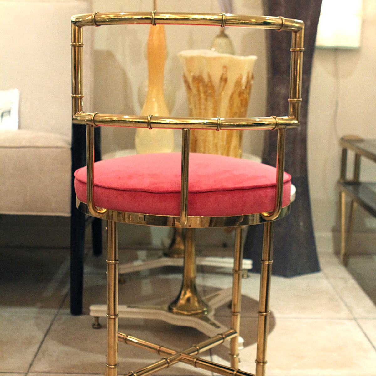 Vanity Seat With Back Faux Bamboo Brass High Back Vanity Chair Single Chair