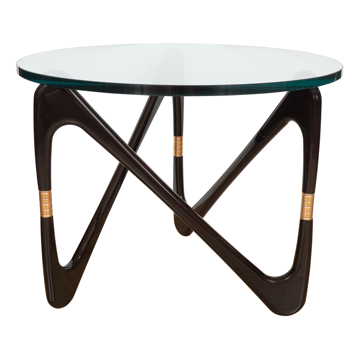 Circular End Tables Pair Of Circular Side Tables With Sculptural Lacquered