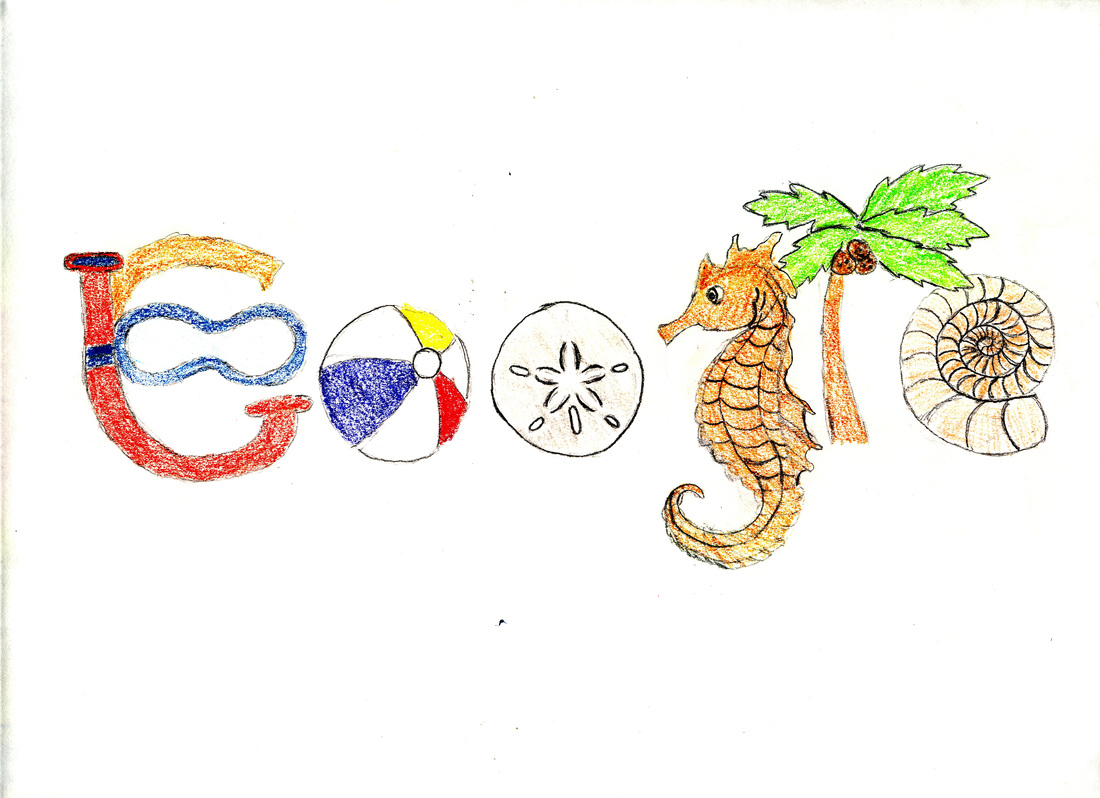 The inspiration and theme for my analog google doodle was the beach my favorite places to go are california and florida and i love to lay on the beaches
