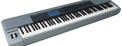 Full size piano-weighted keyboard with sustain and damping pedals