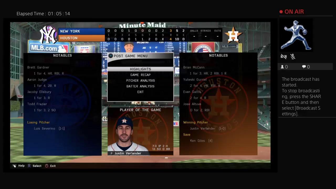 MLB 16 The Show-2017 American League Championship Series NY Yankees at Houston Game 6 #スポーツニュース #followme
